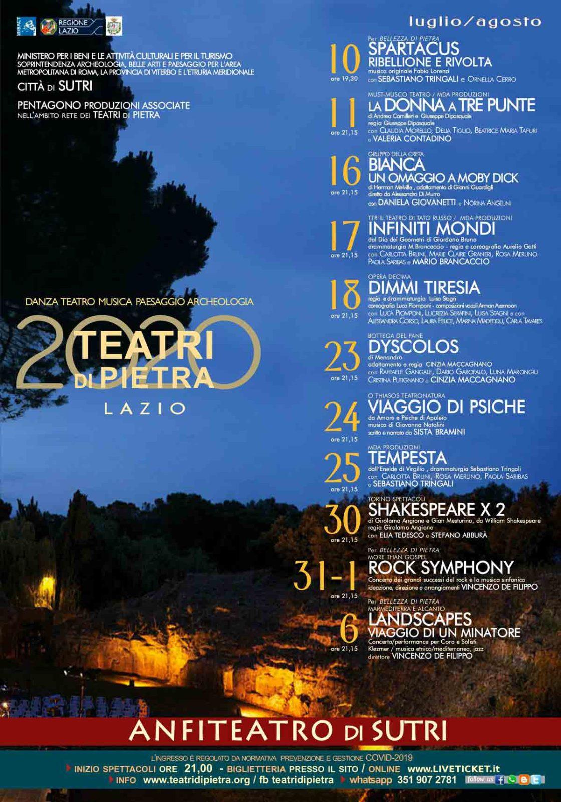 Programma Teatri di Pietra 2020 - Città di Sutri