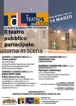 Programmazione Teatro del Lido fino al 14 marzo